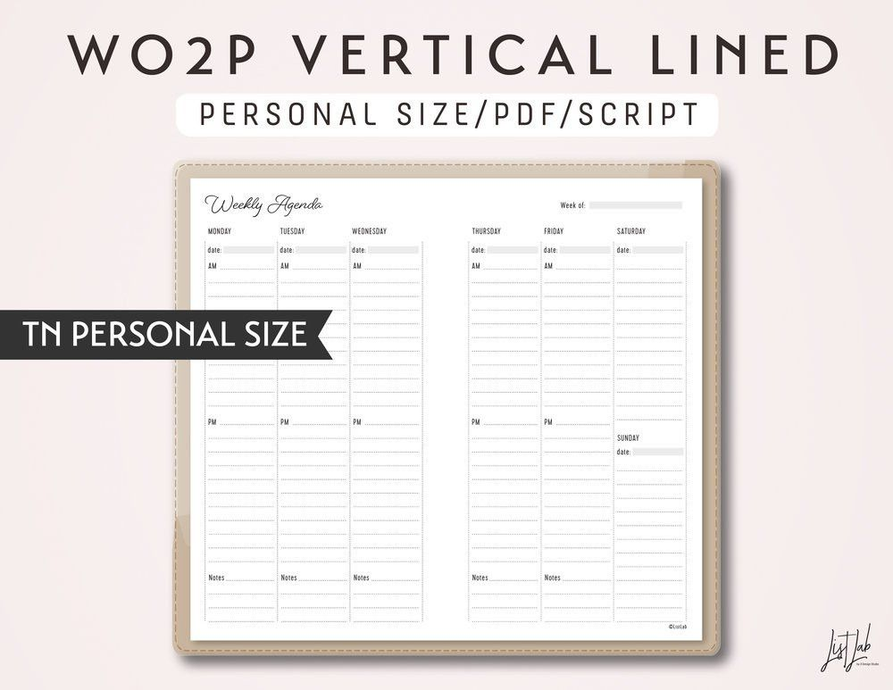 PERSONAL Size TN Week on 2 Pages Vertical Lined - Printable ...