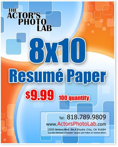 8x10 actor resume paper Actor resume printing on back of headshots