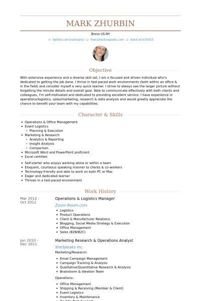 Logistics Manager Resume samples - VisualCV resume samples database