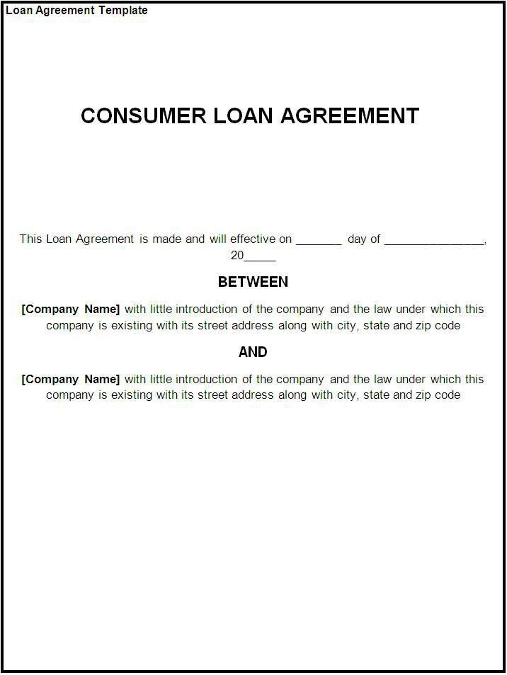 Costumer Loan Agreement Template Example : Helloalive