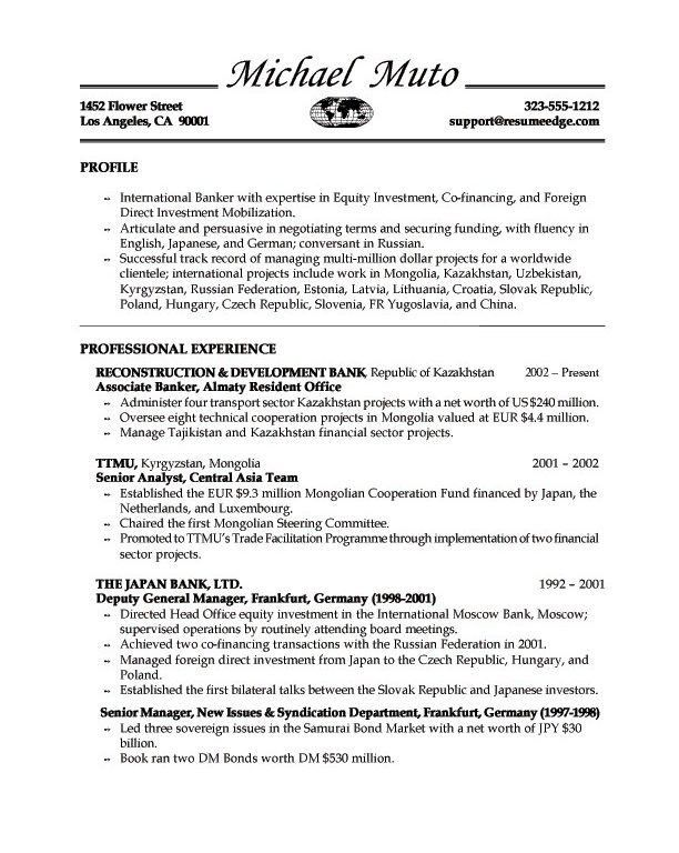 banking cover letter for resume
