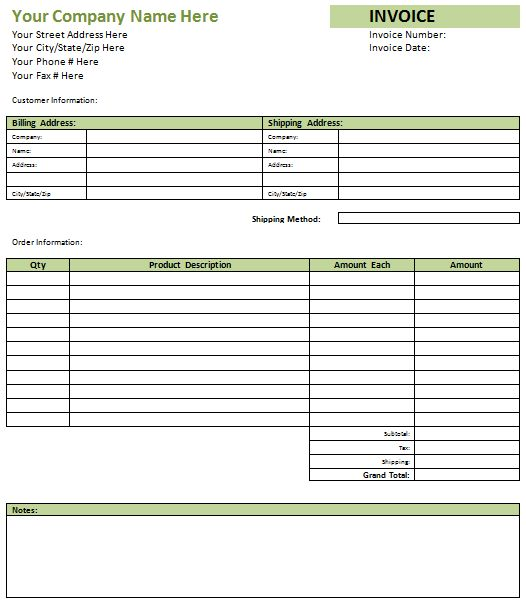 Blank Invoice Format | printable invoice template