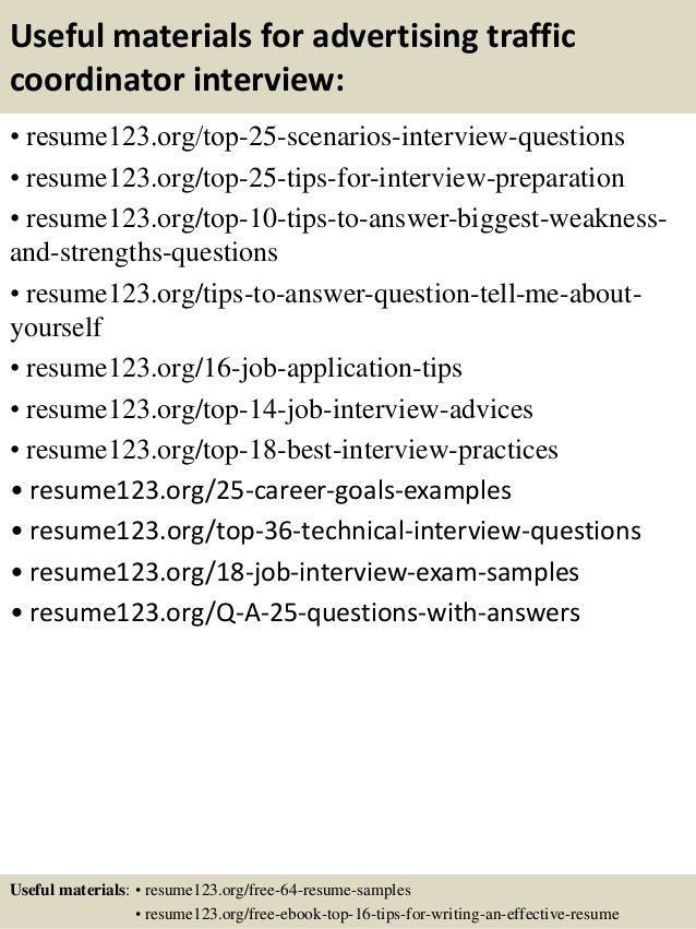 Top 8 advertising traffic coordinator resume samples