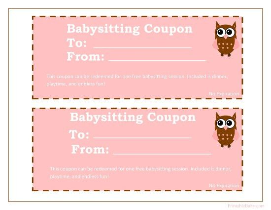 Printable Baby Sitting Voucher perfect for my nieces and nephew ...
