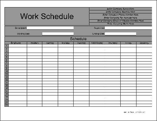 Free Personalized Numbered Rows Weekly Work Schedule from Formville