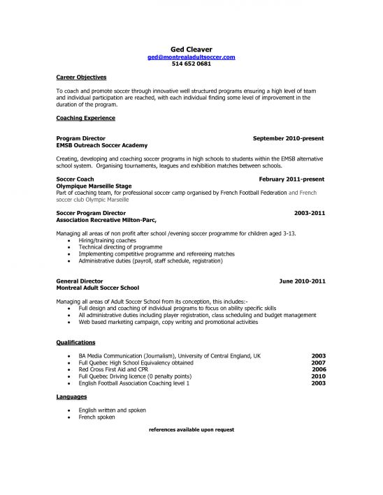 High school coaching cover letter