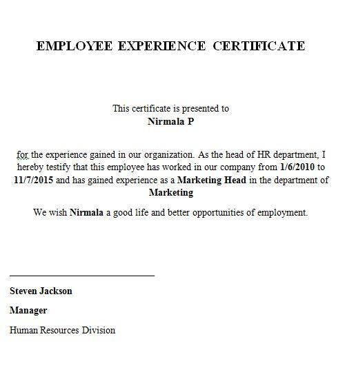 Samples of experience certificate work experience certificate sample pdf job resumed experience certificate yelopaper Gallery