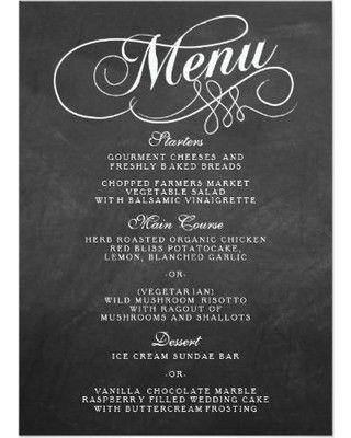 Fall Into This Deal on Elegant Chalkboard Wedding Menu Templates Card