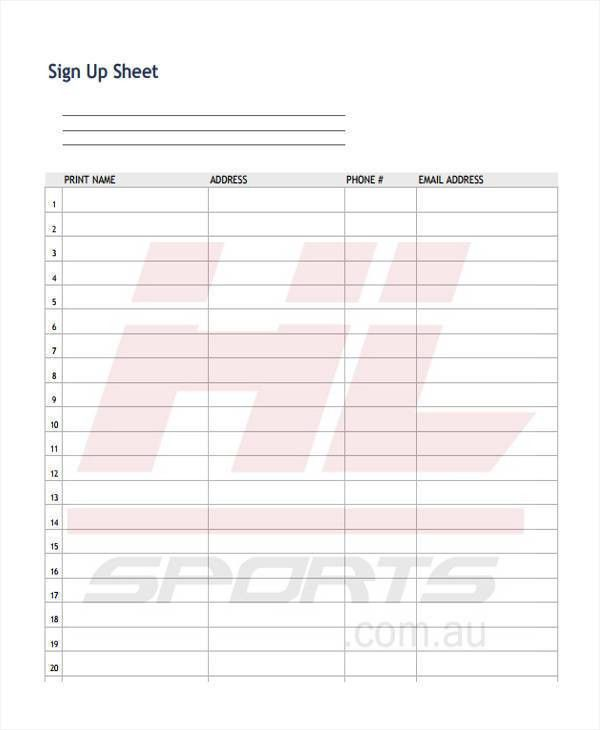 9+ Sign-Up Sheet Templates - Free Sample, Example, Format Download