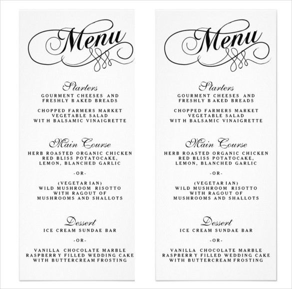 27+ Wedding Menu Templates – Free Sample, Example Format Download ...