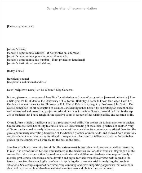 Reference Letter Examples - 29+ Free Word, PDF DOcuments Download ...
