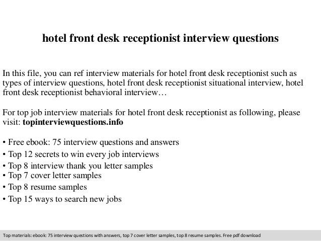 Hotel front desk receptionist interview questions