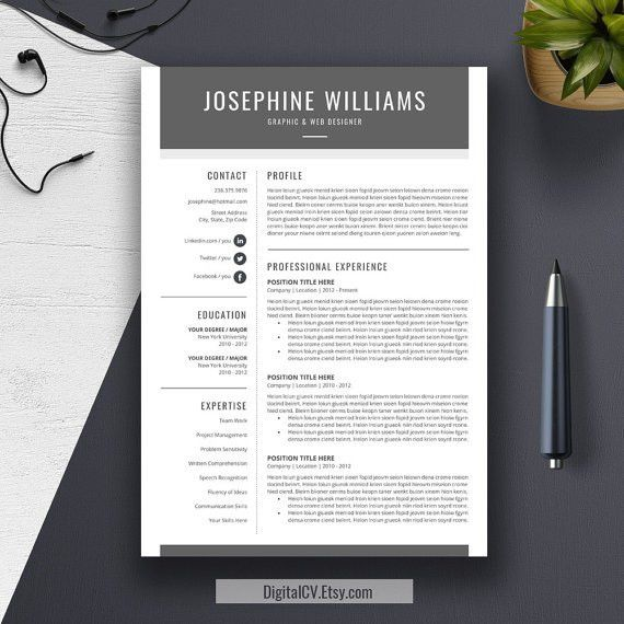 Resume Template US Letter A4 CV Template Cover Letter by DigitalCV ...