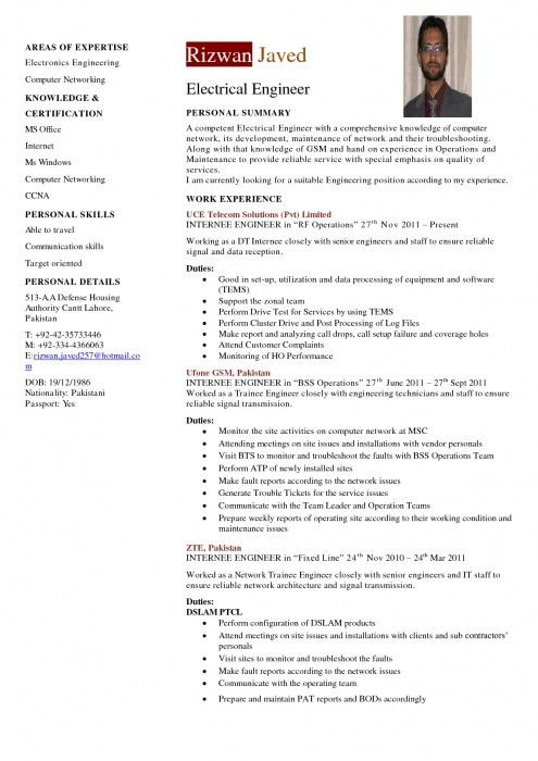 Resume of electrical engineer power plant