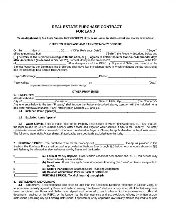 Sample Land Contract Form - 8+ Free Documents in PDF, Doc