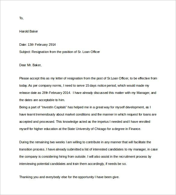 Letter Of Resignation 2 Weeks Notice Template | jennywashere.com