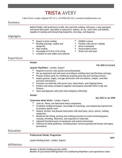 Welder Resume Sample | jennywashere.com