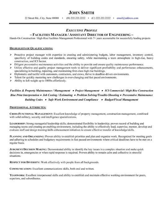 Facilities Manager Resume | haadyaooverbayresort.com