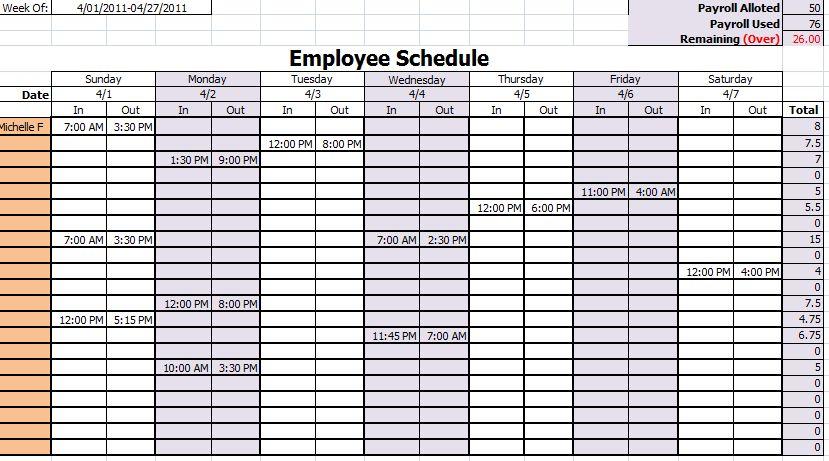Employee Schedule Template - vnzgames