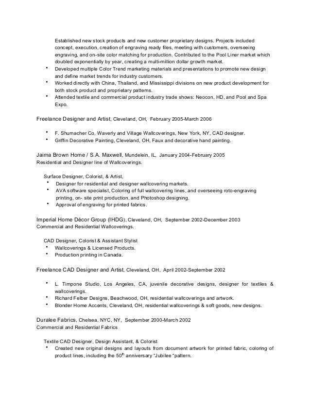 Textile Cad Designer Resume - Contegri.com