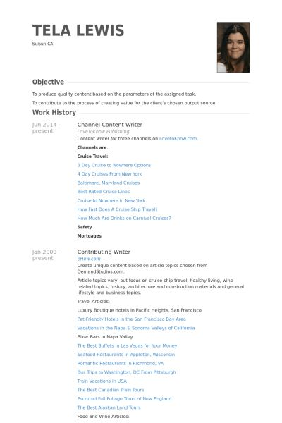Content Writer Resume samples - VisualCV resume samples database