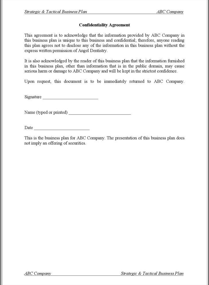 Generic Confidentiality Agreement. Non-Disclosure Agreement ...