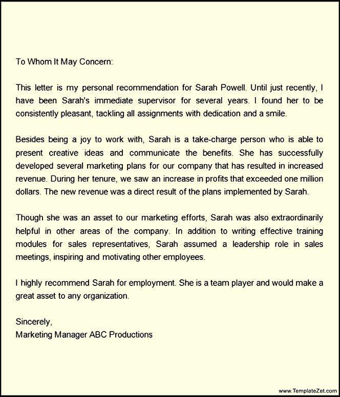 Recommendation letter for Employment Regularization | TemplateZet