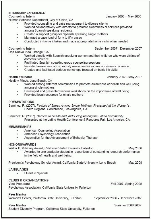 Academic Resume Template For Graduate School - Best Resume Collection