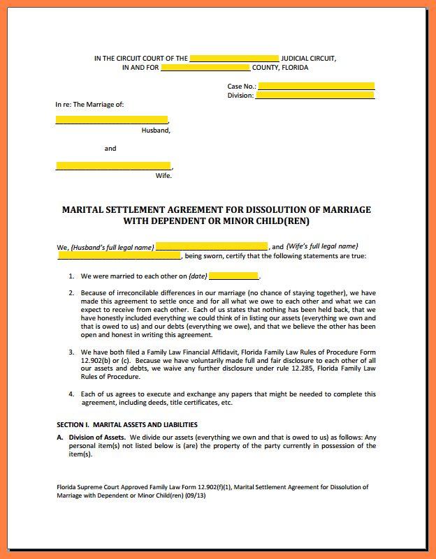 3+ divorce settlement agreement sample | Marital Settlements ...
