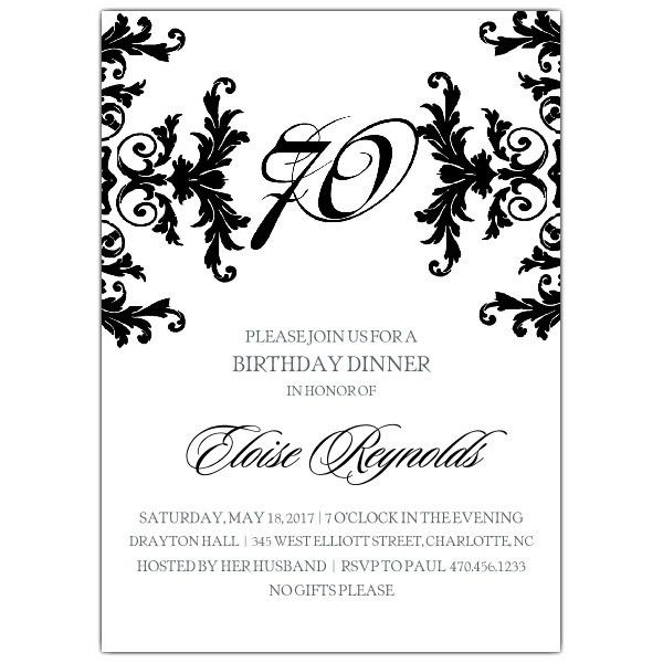 70Th Birthday Invitations | badbrya.com