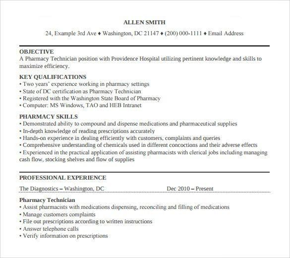 Sample Pharmacy Technician Resume - 8+ Free Documents in PDF, Word
