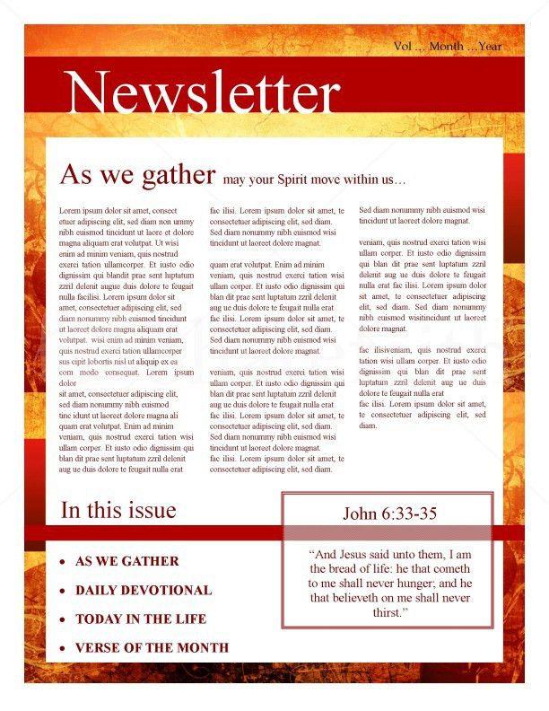 Fall Leaves Church Newsletter Template | Newsletter Templates