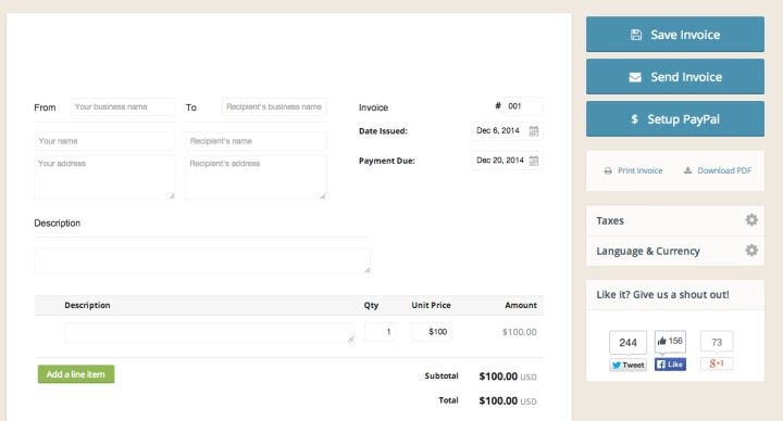 Free freelance invoice templates and generators | Ben Matthews
