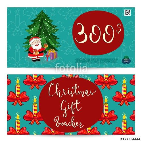 Christmas gift voucher template. Gift coupon with Xmas attributes ...