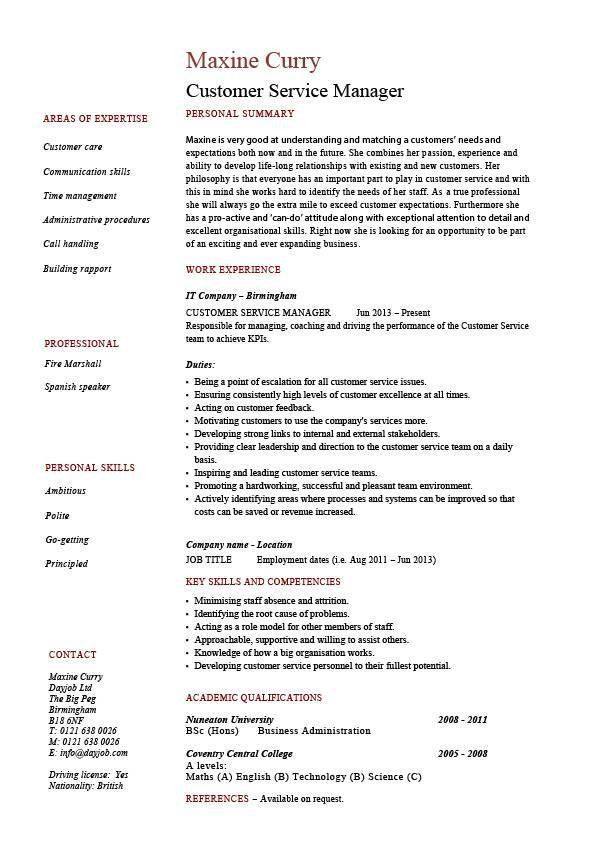 Customer Service manager resume, sample, template, client ...