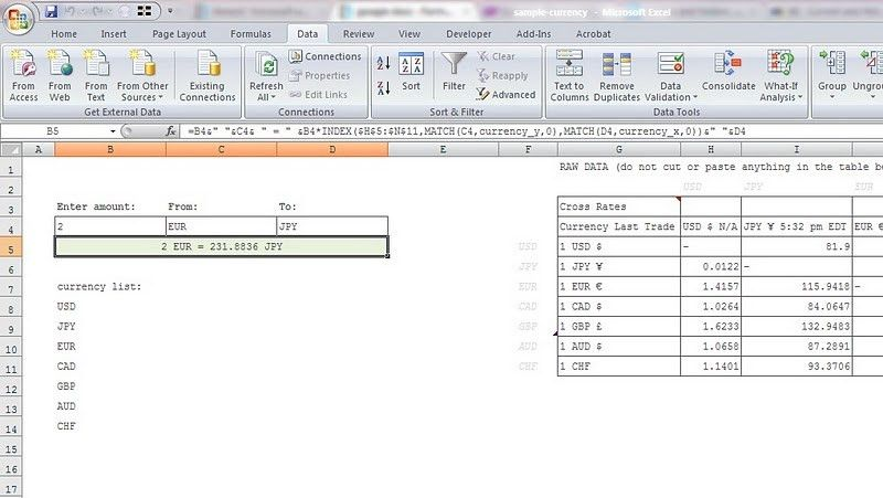 google docs - Formula for updated currency exchange rates in Excel ...