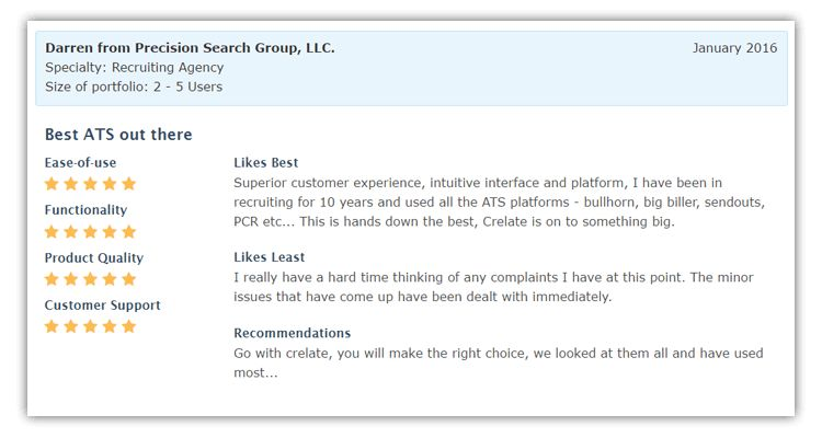 Crelate Recruiting Solution - Customer Reviews