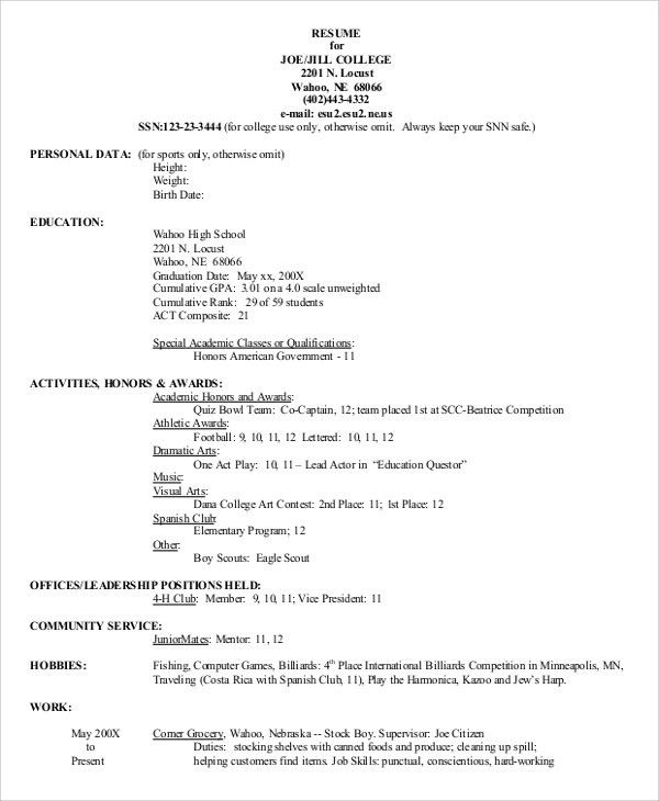 Example Of A High School Resume. Resume Format For High School ...