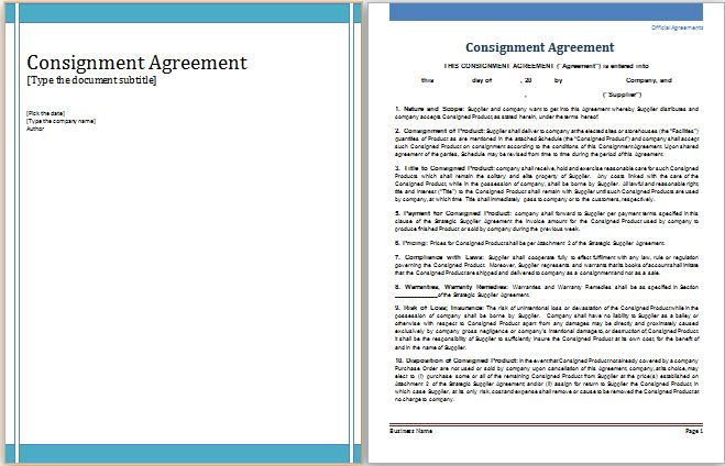 MS Word Consignment Agreement Template | Word Document Templates