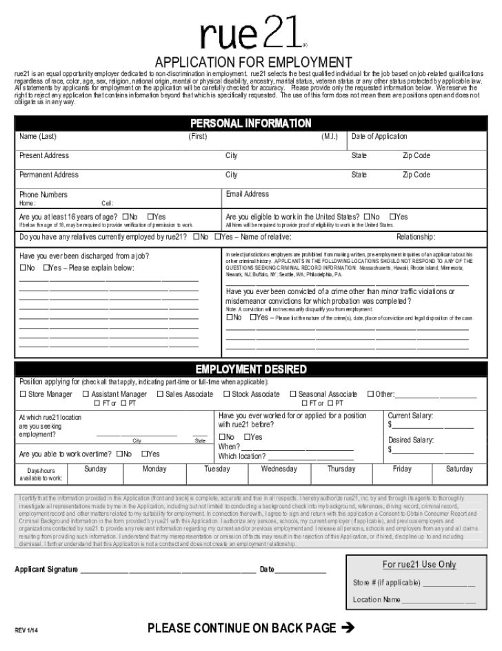 Free Printable Rue 21 Job Application Form