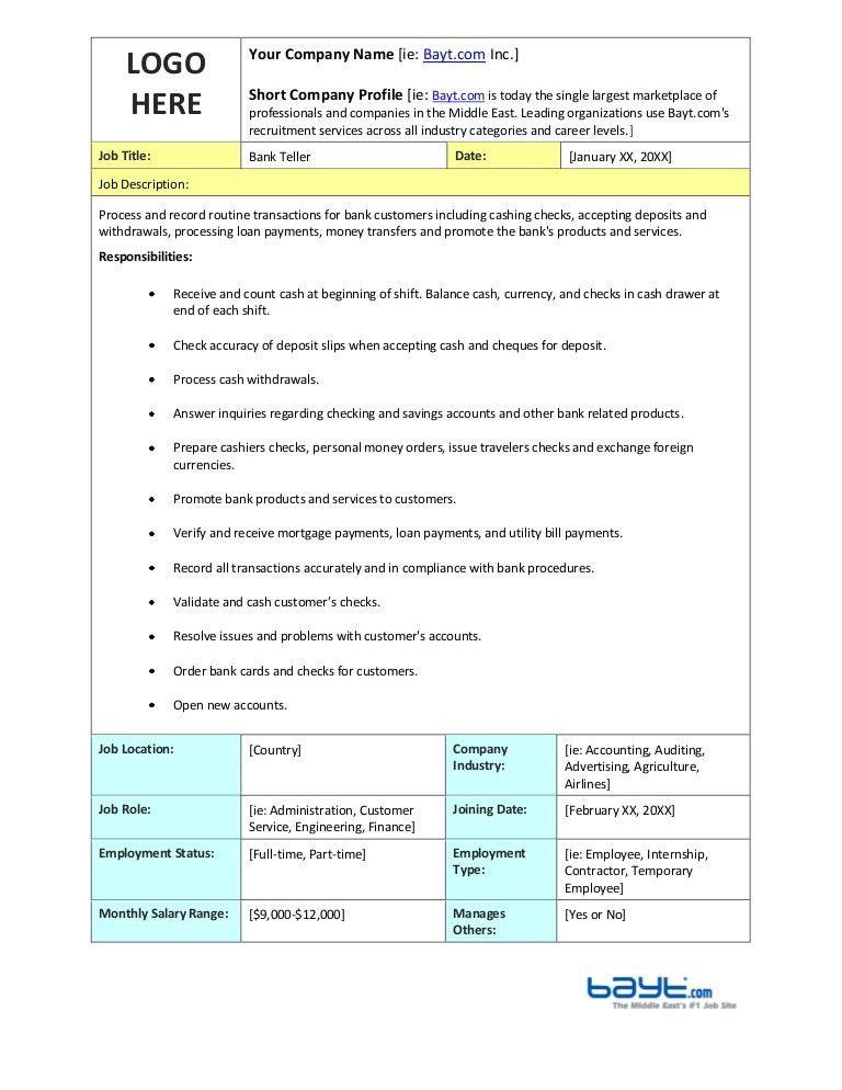 Bank Teller Job Description Template by Bayt.com