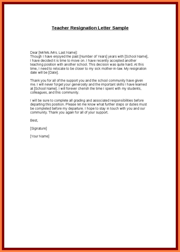 Sample Resignation Letter Giving One Month Notice | Docoments Ojazlink