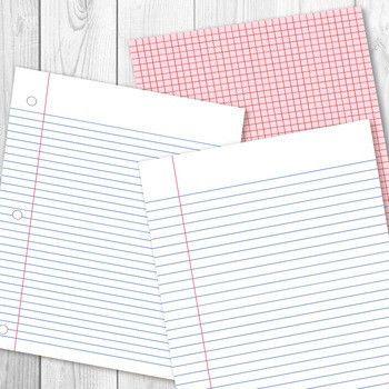 Digital Papers, Preschool Writing Paper, Math Graph Paper, Lined ...