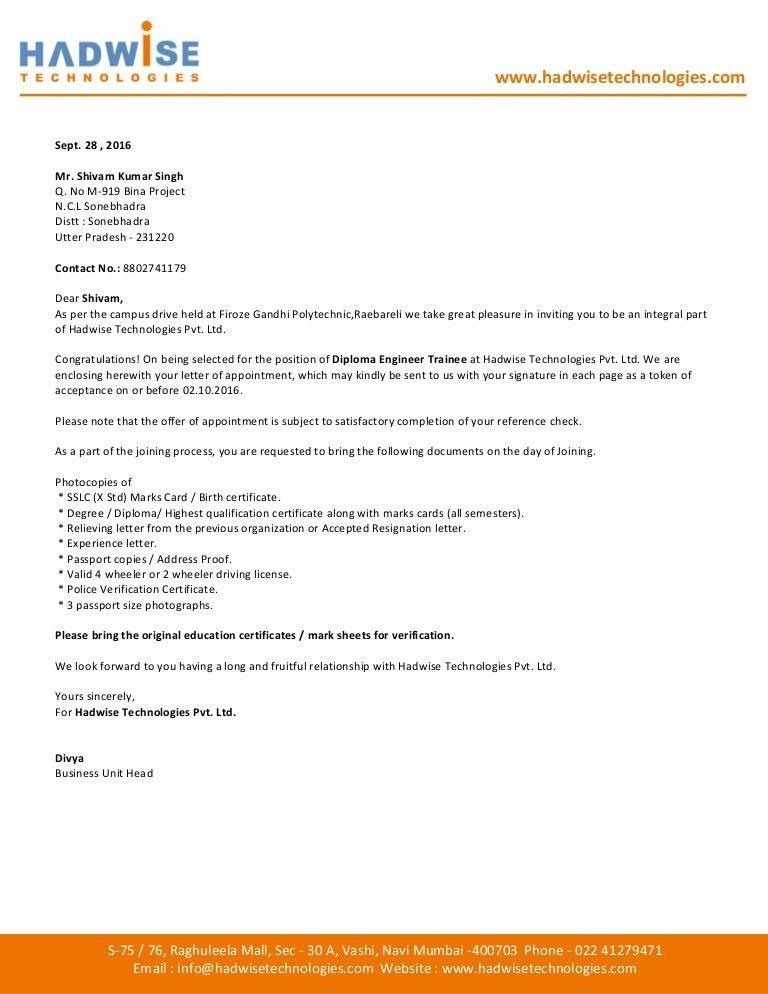 Offer Letter Shivam Singh