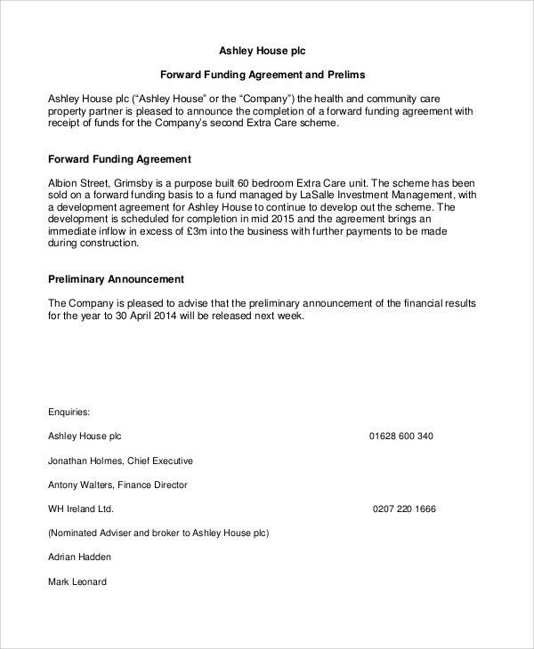 Funding Agreement Template - 9 Free Word, PDF Format Download ...
