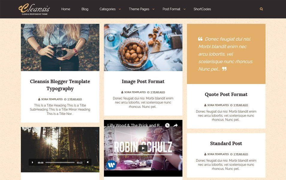 Cleansis -Grid Style Blogger Template -Free Download http://www ...