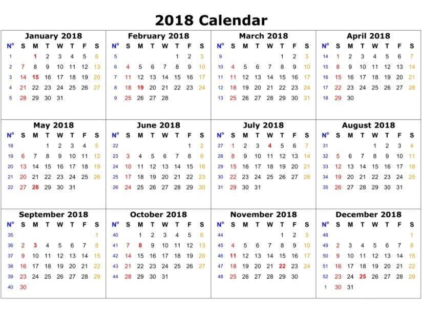 12 Month Calendar Template 2018 | Calendar 2018