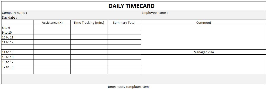 Ready-to-use Microsoft Powerpont Blank Printable Daily Time Card