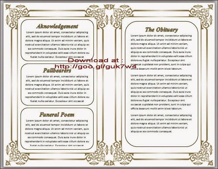 Free Obituary Template | cyberuse