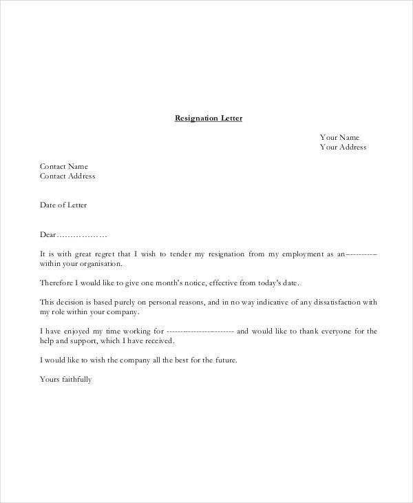 Resignation Letter Templates - 7+ Free Sample, Example Format ...